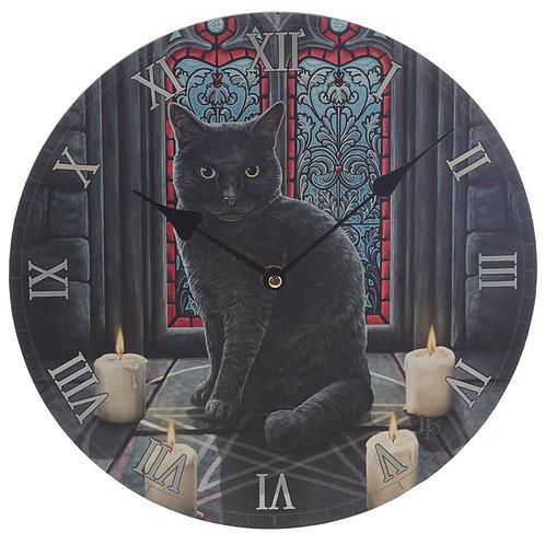 Red Window Cat Wall Clock