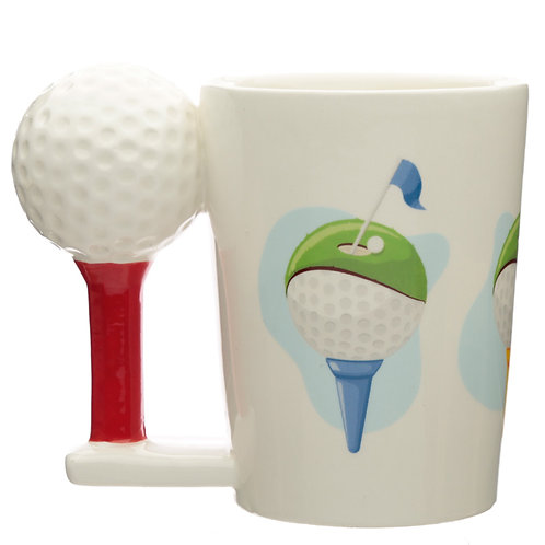 Ceramic Golf Ball and Tee Shaped Handle Mug Novelty Gift