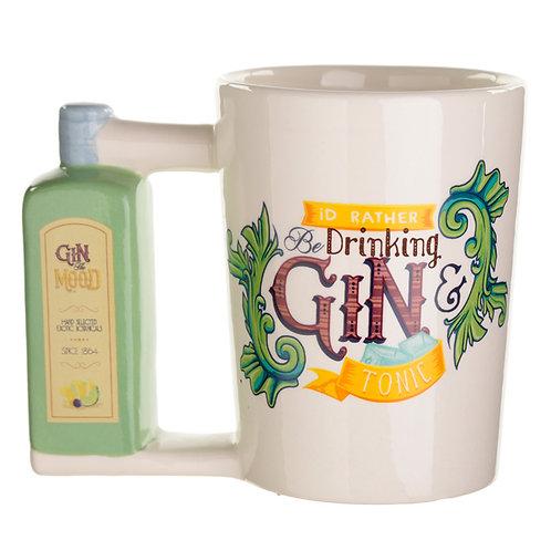Ceramic Gin Bottle Shaped Handle Mug Novelty Gift