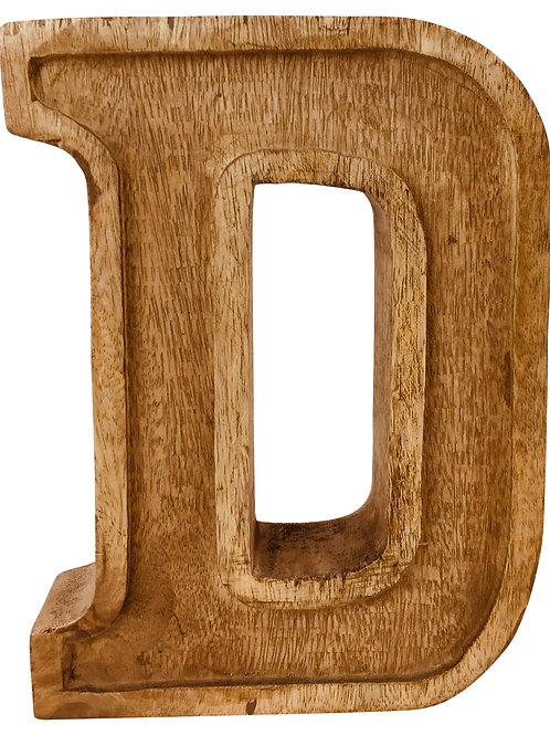 Hand Carved Wooden Embossed Letter D Shipping furniture UK