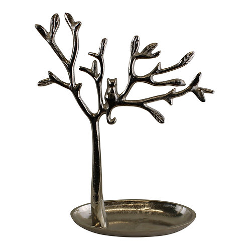 Silver Metal Tree With Cat Jewellery Stand Shipping furniture UK