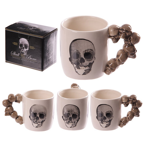 Novelty Skulls Stack Shaped Handle Ceramic Mug Novelty Gift