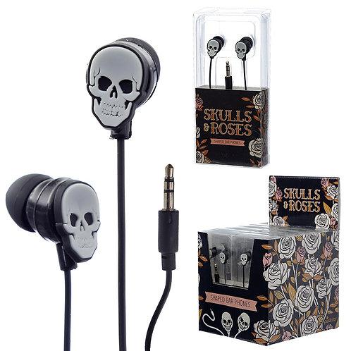 Funky Earphones - Skulls and Roses Design Novelty Gift