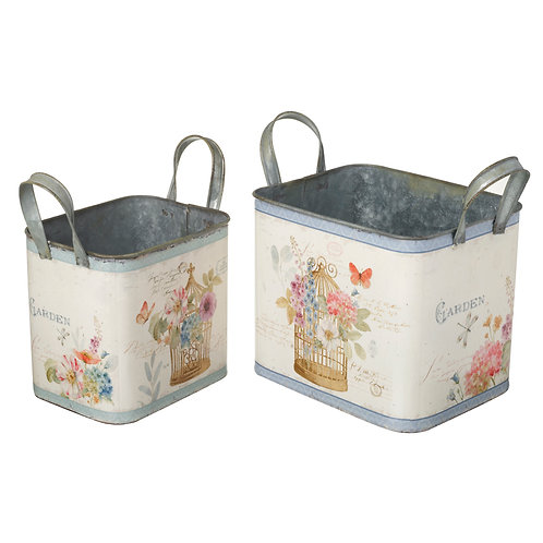Set of 2 Box Planters with Handles Shipping furniture UK