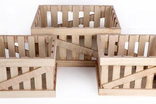 Set of 3 Wooden Storage Crates Shipping furniture UK