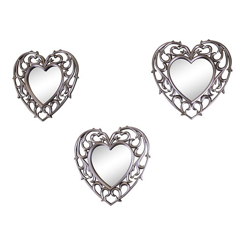 Set of 3 Silver Filigree Heart Shaped Wall Mounted Mirrors Shipping furniture UK