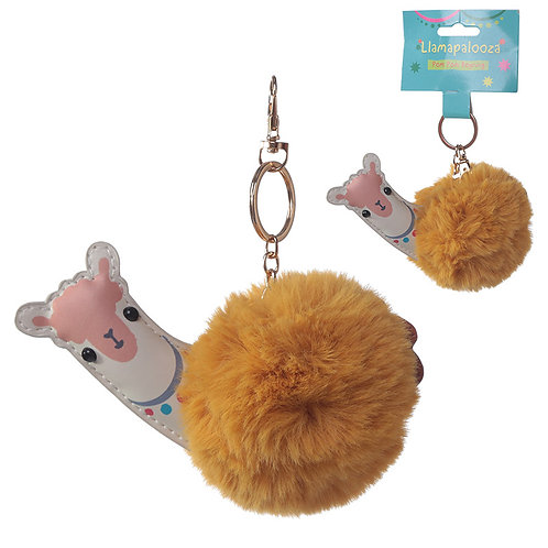 Fun Collectable Pom Pom Keyring - Llama Novelty Gift
