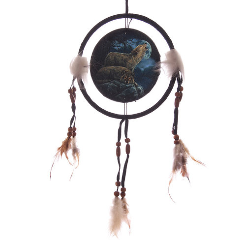 Decorative Mystical Wolf Pair 16cm Dreamcatcher Novelty Gift