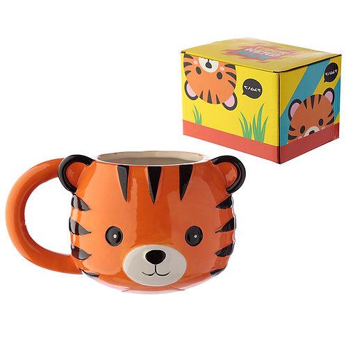 Ceramic Animal Shaped Head Mug - Tiger Novelty Gift