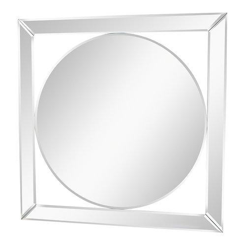 Silver Metal Circular Mirror With Geometric Design 60cm Shipping furniture UK