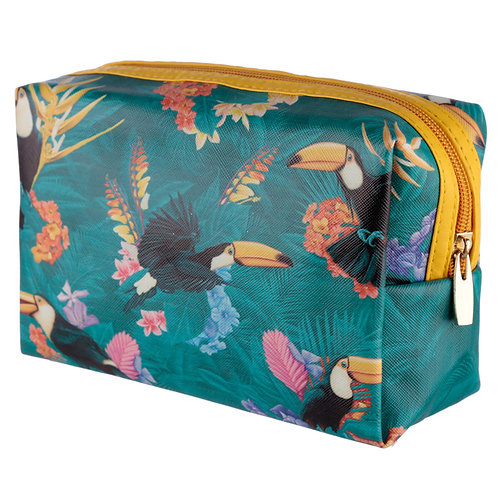 Handy PVC Make Up Toiletry Wash Bag - Tropical Toucan Design Novelty Gift