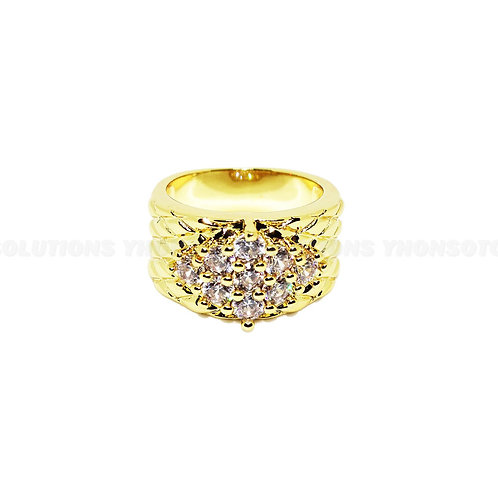 Yellow Gold Plated Jewelry Crystal Gold Plated Ring For Women Anniversary Gift