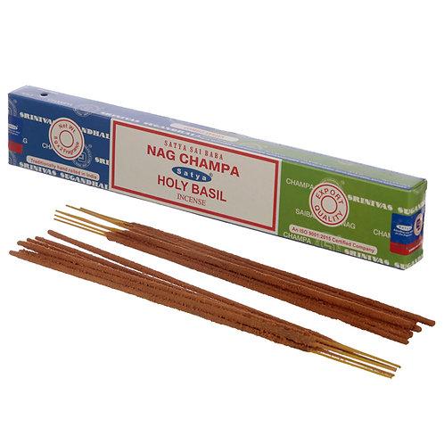 Satya Incense Sticks - Nag Champa & Holy Basil Novelty Gift