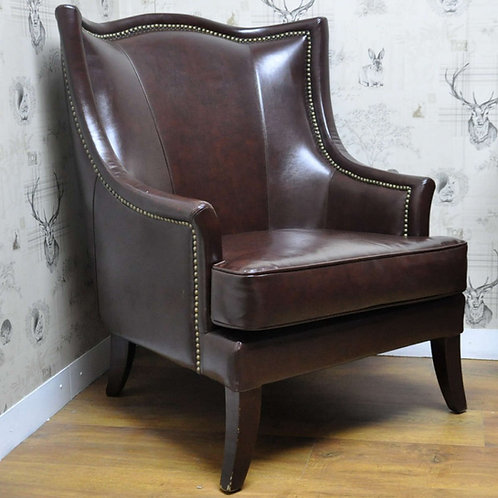 Brown Clumber Leather Fireside Chair Shipping furniture UK