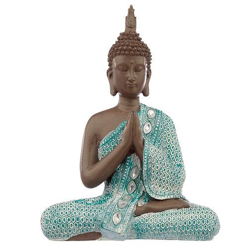 Decorative Turquoise & Brown Buddha Figurine - Meditating Novelty Gift