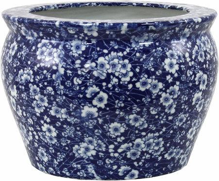 Ceramic Planter, Vintage Blue and White Daisies Design Shipping furniture UK