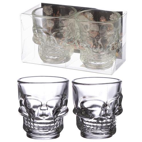 Fun Collectable Glass Shot Glass Set of 2 - Skulls (60ml) Novelty Gift