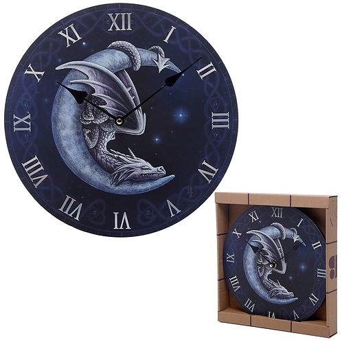 Decorative Fantasy Sweet Dreams Dragon in Moon Wall Clock Novelty Gift