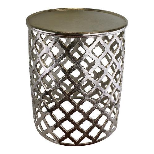 Decorative Silver Metal Side Table, Lattice design Shipping furniture UK