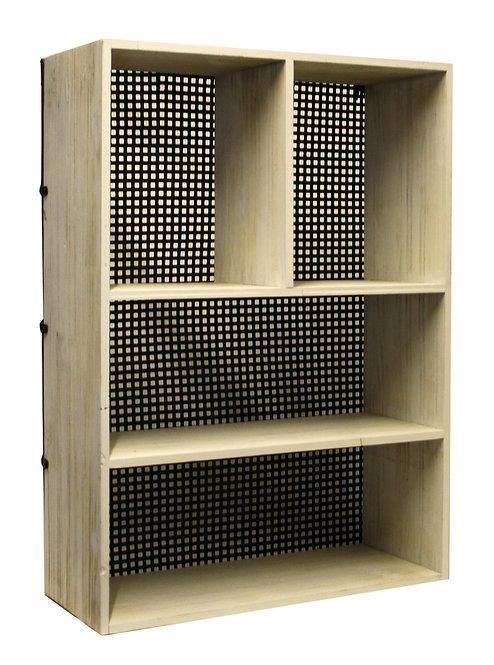 Wooden and Metal Wall Shelf Unit Black Shipping furniture UK