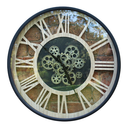 Black and Natural Moving Gear Clock, 57cm. Shipping furniture UK