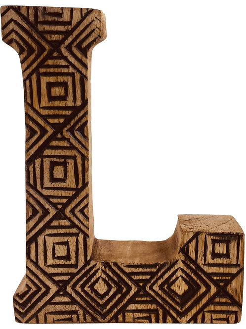 Hand Carved Wooden Geometric Letter L Shipping furniture UK
