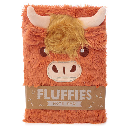 Fluffy Plush Notebook - Highland Coo Cow Novelty Gift