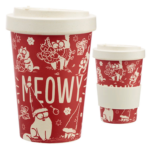 Bamboo Eco Friendly Christmas Simon's Cat Screw Top Travel Mug No