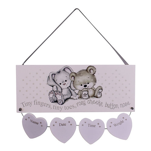 Neutral New Baby Birth Details Plaque Shipping furniture UK