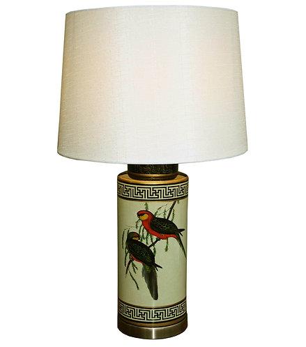 Ceramic Lamp, Tropical Bird Design, Cream Shade Shipping furniture UK