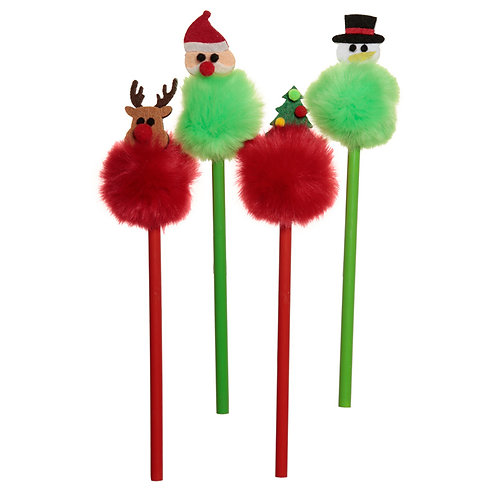 Fun Christmas Pom Pom Pencil with Topper [Pack of 2] Novelty Gift