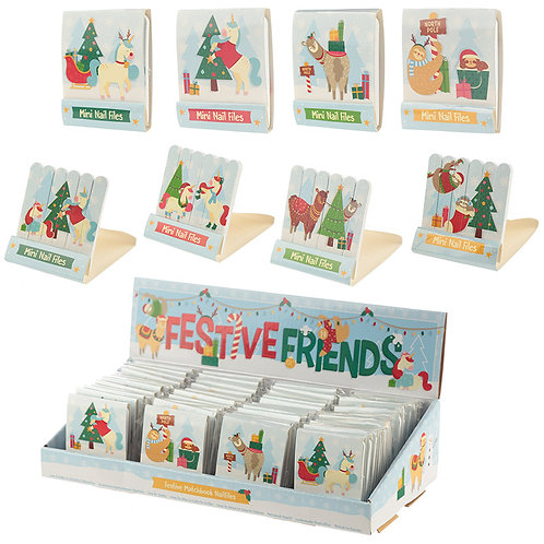 Fun Collectable Festive Animals Christmas Nail File Matchbook Novelty Gift