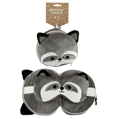 Cutiemals Raccoon Travel Pillow & Eye Mask Set Novelty Gift