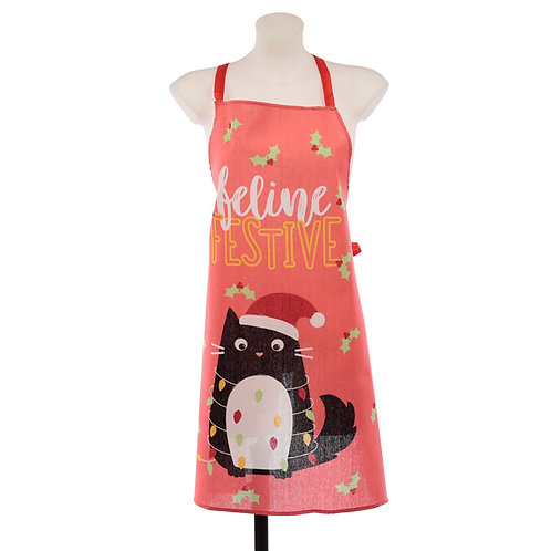 Christmas Cat Festive Feline Poly Cotton Apron Novelty Gift