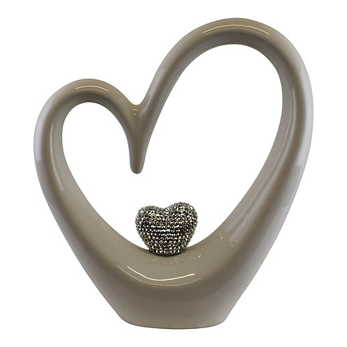 Large White Ceramic Heart With Diamante Ornament Shipping furniture UK