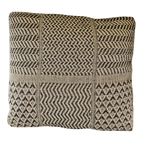 Aztec Patterned Cushion, Black & Natural, 45cm. Shipping furniture UK