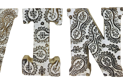 Hand Carved Wooden White Flower Letters Wine Shipping furniture UK