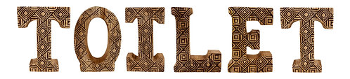 Hand Carved Wooden Geometric Letters Toilet Shipping furniture UK