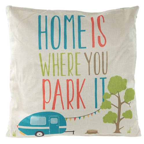 Cushion with Insert - Home is Where You Park It 43 x 43cm Novelty Gift