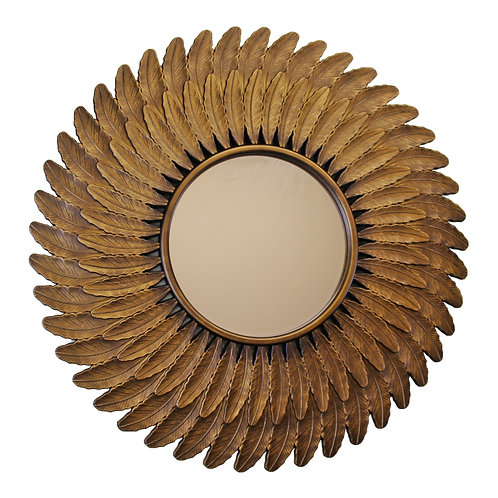Bronze Effect Feather Frame Mirror Shipping furniture UK