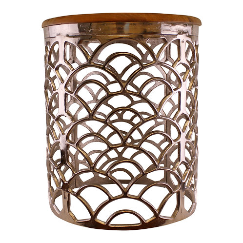 Decorative Silver Metal Side Table With A Wooden Top Shipping furniture UK