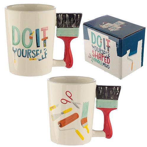 Ceramic DIY Paint Brush Shaped Handle Mug Novelty Gift