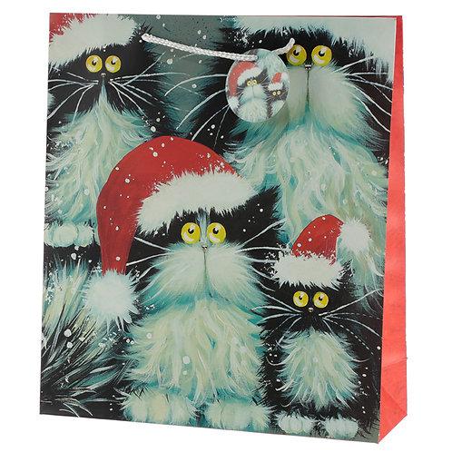 Kim Haskins Cats Design Extra Large Christmas Gift Bag Novelty Gift