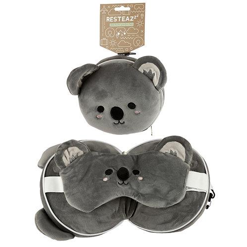 Cutiemals Koala Relaxeazzz Plush Round Travel Pillow & Eye Mask Set Novelty Gift