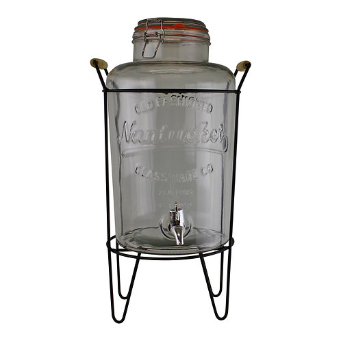 Vintage Style Glass Juice Dispenser on Metal Stand Shipping furniture UK