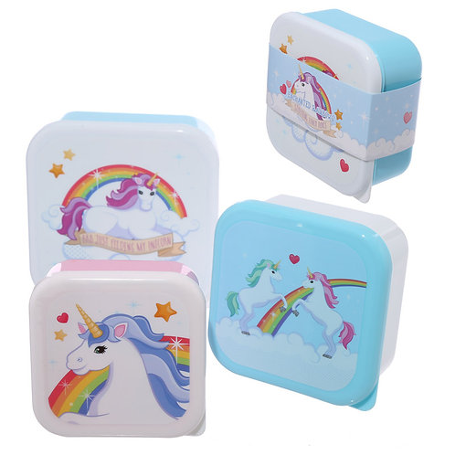 Fun Unicorn Design Set of 3 Plastic Lunch Boxes Novelty Gift