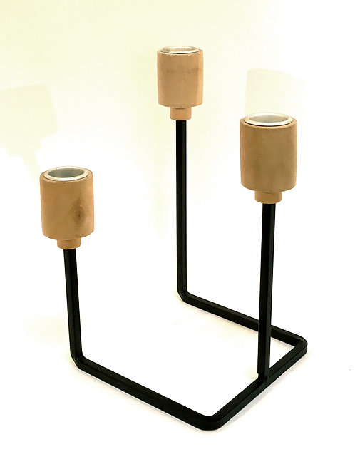 Wood And Black Metal 3 Candle Holder Shipping furniture UK