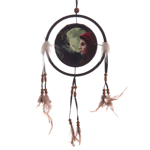 Decorative Fantasy Wolf and Women Dreamcatcher Small Novelty Gift