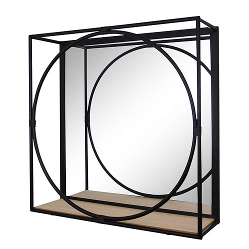 Large Black Metal Framed Mirror Shelf Shipping furniture UK