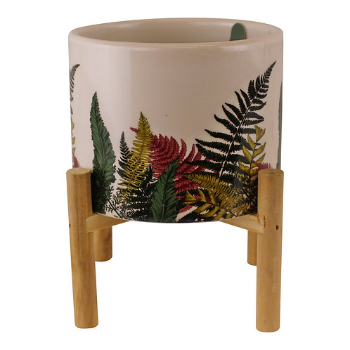 Fernology Ceramic Candle Pot with Wooden Stand, Half Fern Shipping furniture UK
